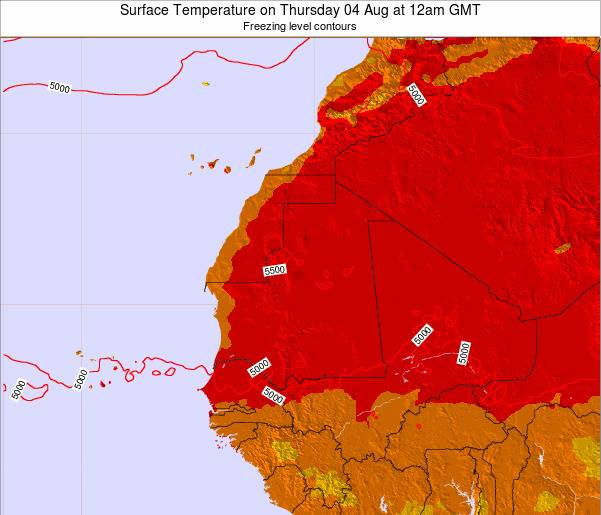 Gambia Surface Temperature on Thursday 13 Mar at 6pm GMT