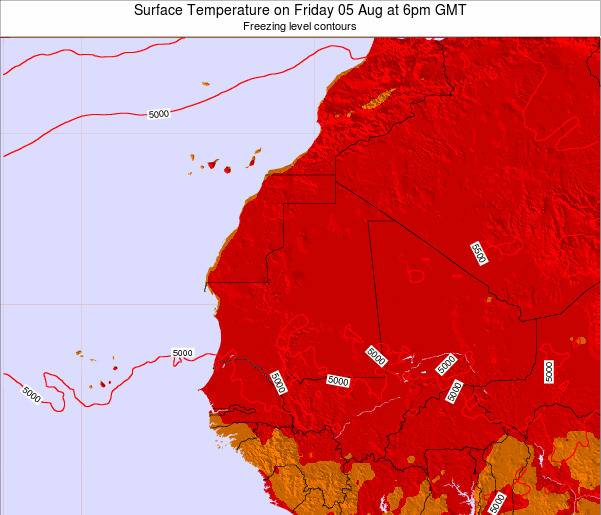 Gambia Surface Temperature on Tuesday 21 May at 12pm GMT map