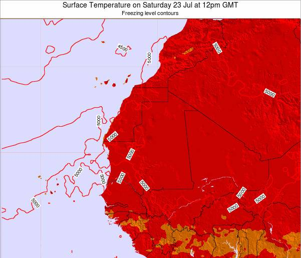 Gambia Surface Temperature on Sunday 19 May at 12pm GMT