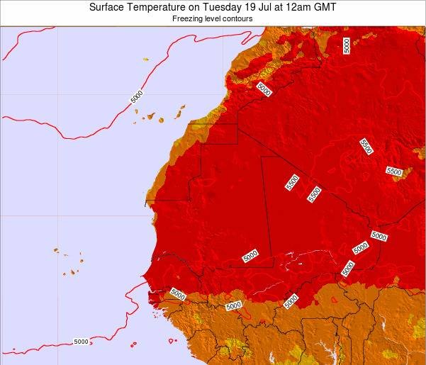 Gambia Surface Temperature on Saturday 13 Feb at 6pm GMT