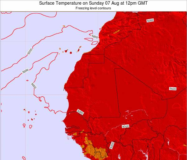 Liberia Surface Temperature on Saturday 25 May at 6pm GMT