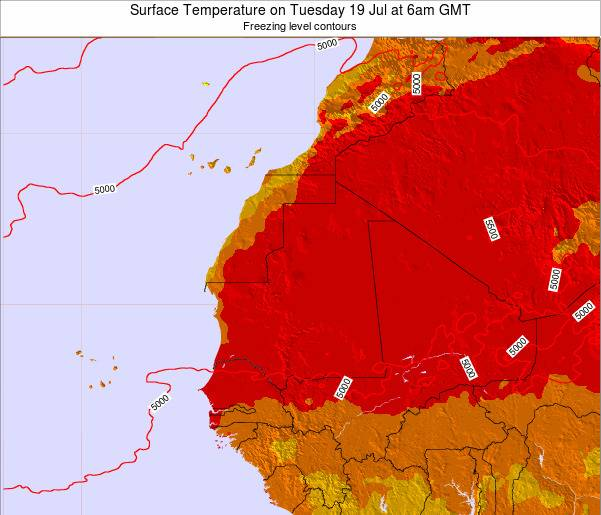 Gambia Surface Temperature on Monday 20 Oct at 6am GMT
