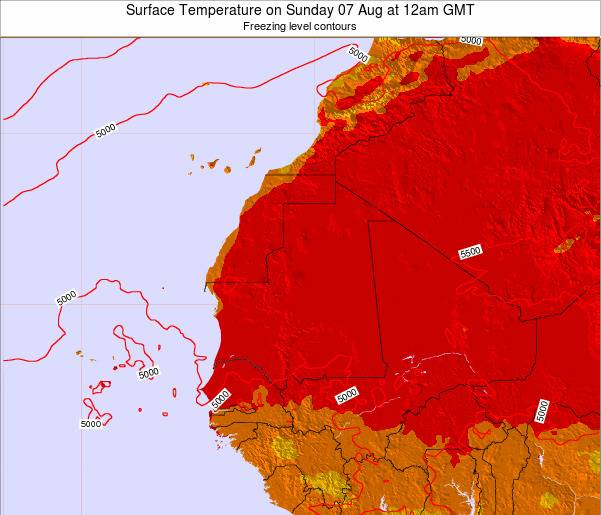 Gambia Surface Temperature on Saturday 19 Apr at 12pm GMT