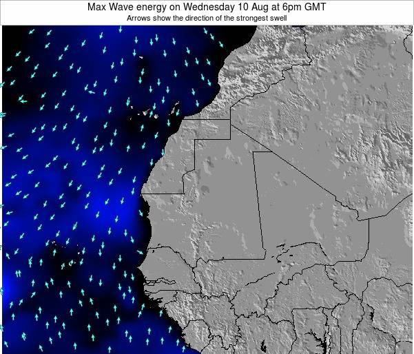 Gambia Max Wave energy on Sunday 27 Jul at 12pm GMT