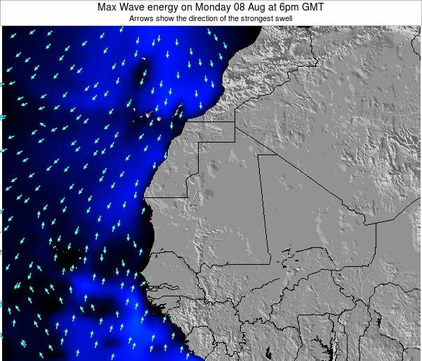 Gambia Max Wave energy on Wednesday 12 Mar at 6am GMT