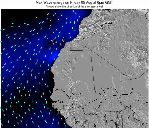 Gambia Max Wave energy on Thursday 24 Apr at 6am GMT