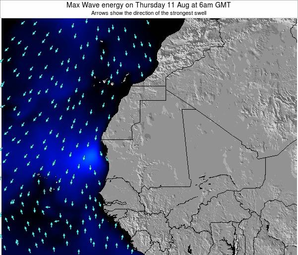 Gambia Max Wave energy on Wednesday 30 Apr at 6am GMT
