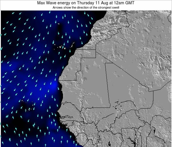 Gambia Max Wave energy on Tuesday 05 Aug at 6am GMT