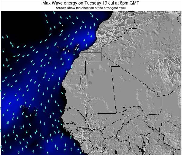 Gambia Max Wave energy on Tuesday 18 Mar at 12pm GMT