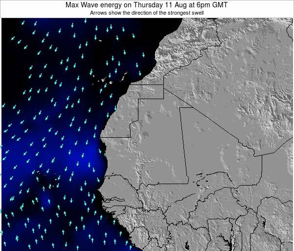 Gambia Max Wave energy on Thursday 05 Mar at 6pm GMT