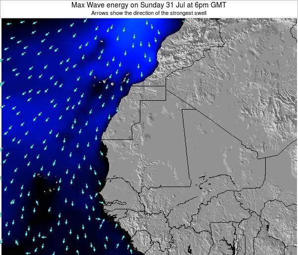 Gambia Max Wave energy on Saturday 15 Mar at 6pm GMT