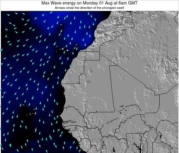 Gambia Max Wave energy on Sunday 23 Jul at 12pm GMT