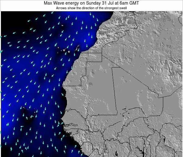 Gambia Max Wave energy on Monday 10 Mar at 12pm GMT