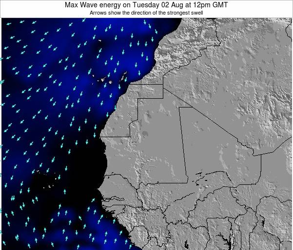 Gambia Max Wave energy on Saturday 02 Aug at 12pm GMT