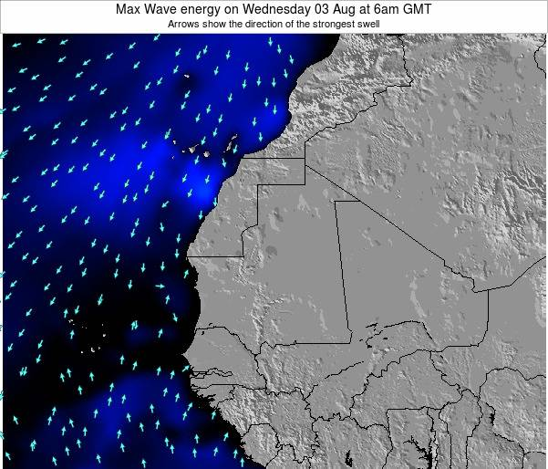 Gambia Max Wave energy on Friday 01 Aug at 12pm GMT