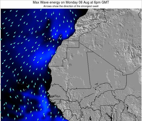 Gambia Max Wave energy on Sunday 09 Mar at 12pm GMT
