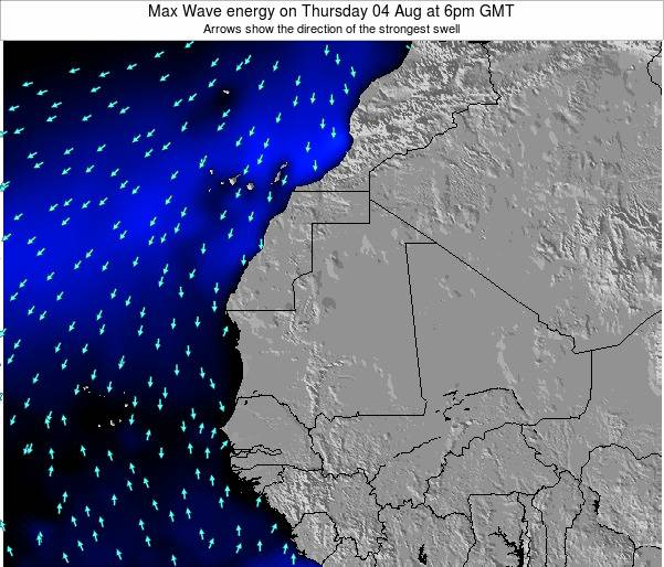 Gambia Max Wave energy on Thursday 24 Jul at 12am GMT