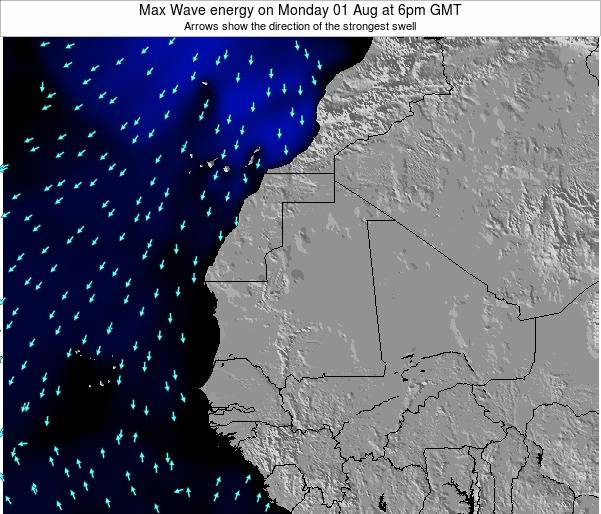 Gambia Max Wave energy on Thursday 12 Dec at 6pm GMT