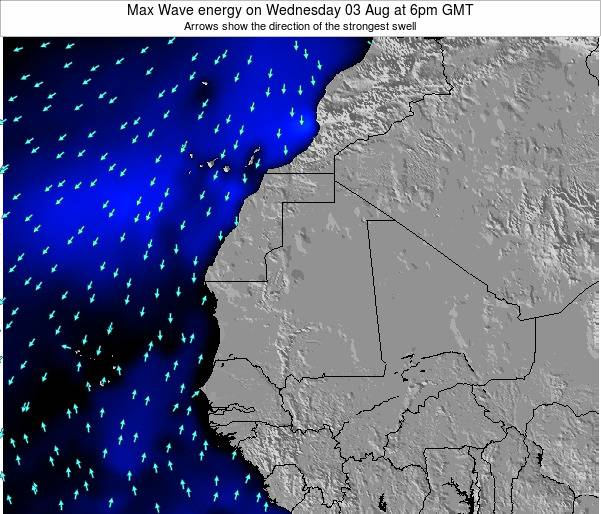 Gambia Max Wave energy on Tuesday 11 Mar at 6am GMT