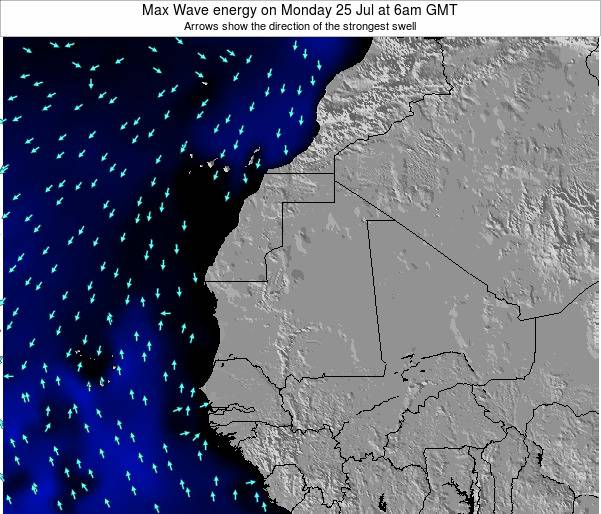 Gambia Max Wave energy on Tuesday 25 Sep at 12pm GMT map