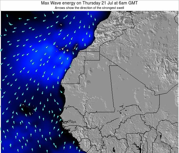 Gambia Max Wave energy on Monday 21 Apr at 6am GMT