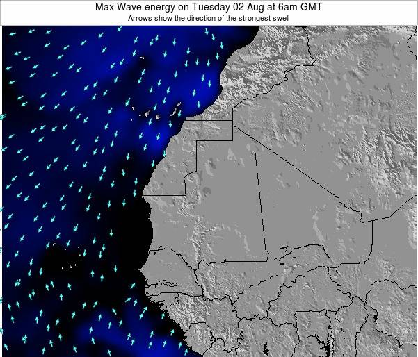 Gambia Max Wave energy on Wednesday 23 Apr at 6am GMT