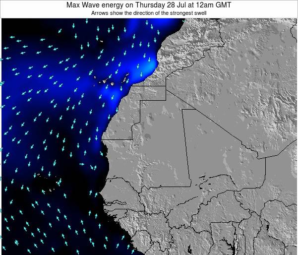 Gambia Max Wave energy on Wednesday 20 Aug at 12pm GMT