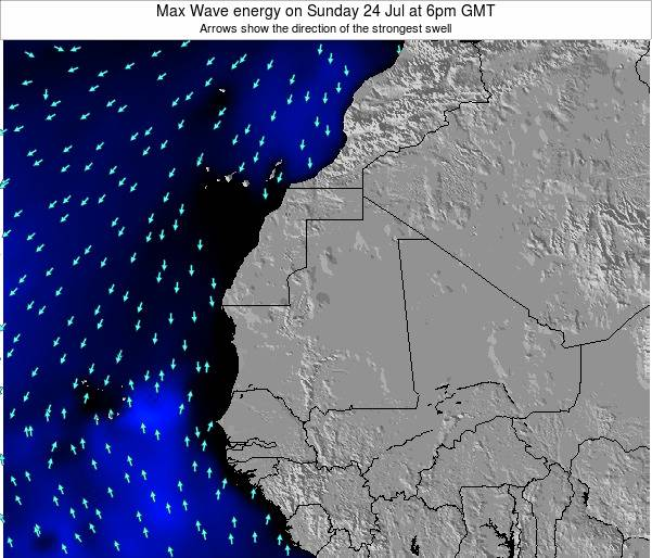 Gambia Max Wave energy on Thursday 13 Mar at 12am GMT