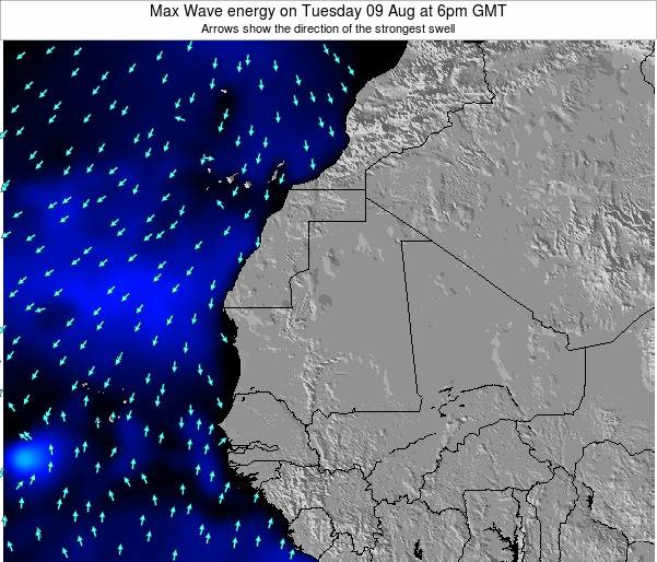 Gambia Max Wave energy on Wednesday 23 Apr at 12pm GMT