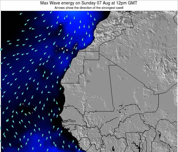 Gambia Max Wave energy on Sunday 27 Apr at 6am GMT
