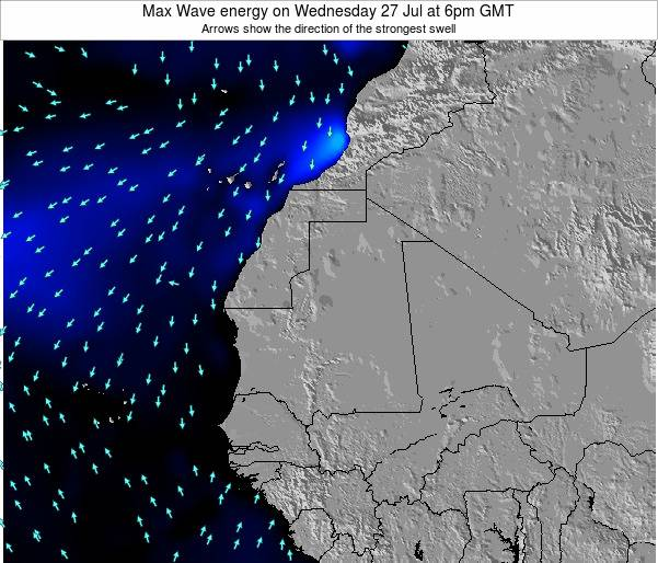 Gambia Max Wave energy on Thursday 27 Sep at 12am GMT map