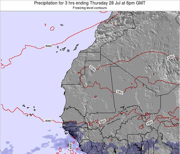 Liberia Precipitation for 3 hrs ending Thursday 23 May at 6pm GMT