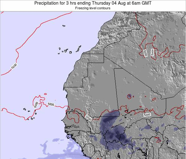 Liberia Precipitation for 3 hrs ending Sunday 03 Aug at 6am GMT