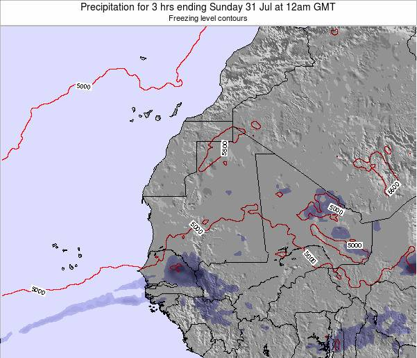 Sierra Leone Precipitation for 3 hrs ending Friday 01 Aug at 6am GMT