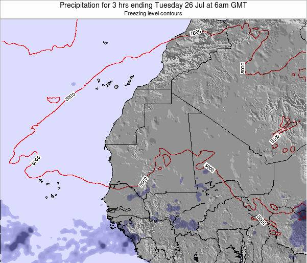 Sierra Leone Precipitation for 3 hrs ending Monday 04 Aug at 6pm GMT
