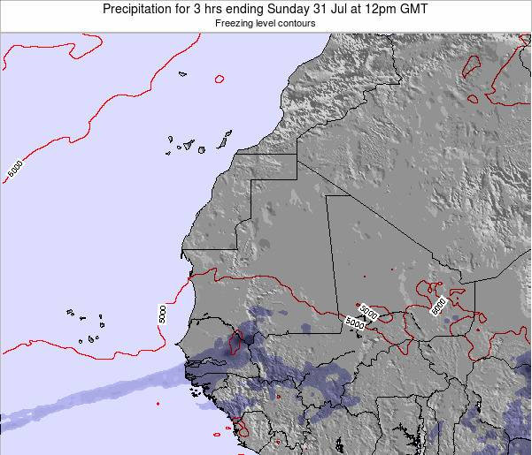 Sierra Leone Precipitation for 3 hrs ending Thursday 31 Jul at 12pm GMT