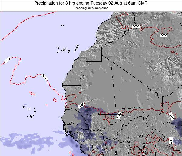 Sierra Leone Precipitation for 3 hrs ending Friday 25 Apr at 12pm GMT