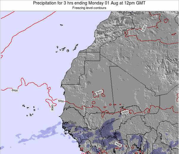 Sierra Leone Precipitation for 3 hrs ending Friday 25 Jul at 12pm GMT