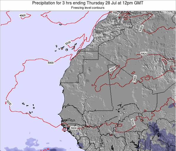 Mauritania Precipitation for 3 hrs ending Thursday 23 May at 12pm GMT