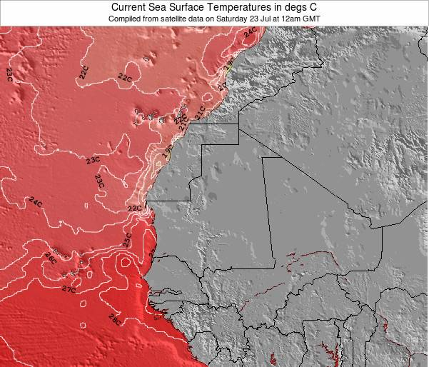 Guinea-bissau Temperaturas da Superfície do Oceano Mapa
