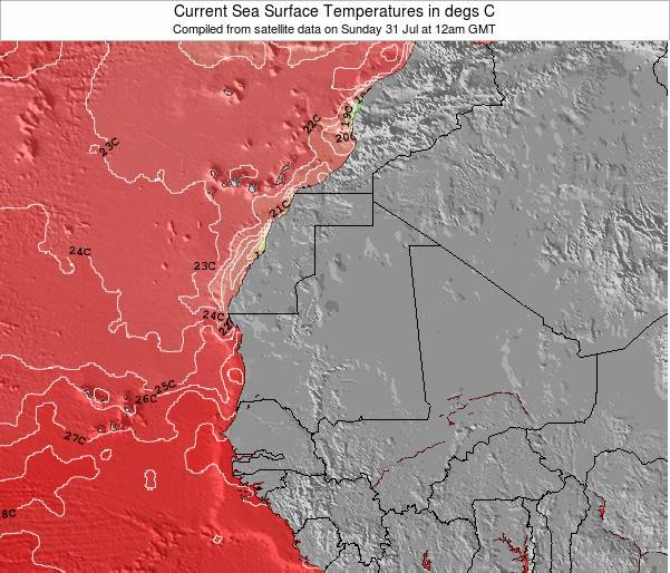 Guinea Sea Temperature Map