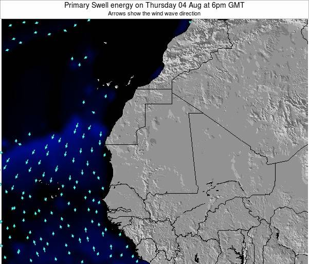Guinea Primary Swell energy on Tuesday 21 May at 12pm GMT