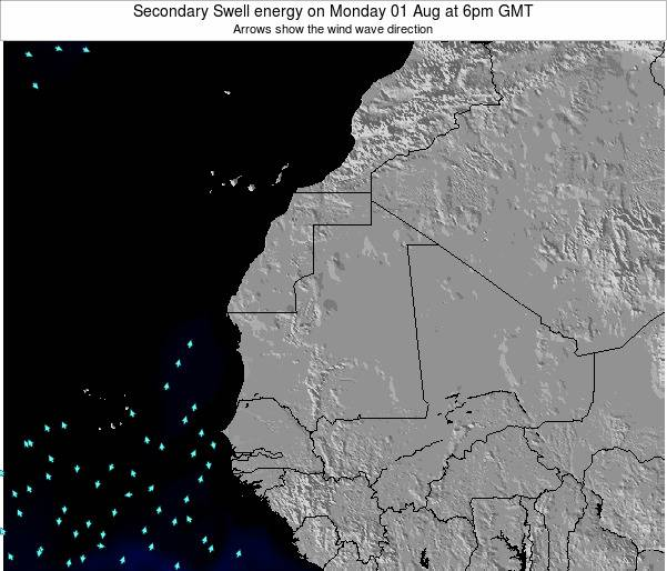 Mauritania Secondary Swell energy on Thursday 30 May at 6am GMT