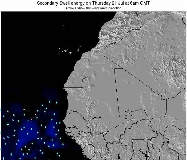 Mauritania Secondary Swell energy on Monday 27 May at 6am GMT