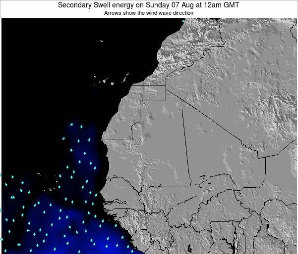 Mauritania Secondary Swell energy on Monday 09 Dec at 6pm GMT