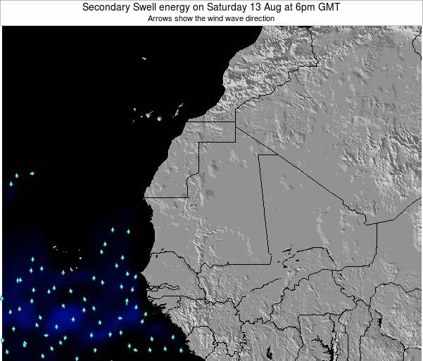 Mauritania Secondary Swell energy on Tuesday 18 Mar at 12am GMT