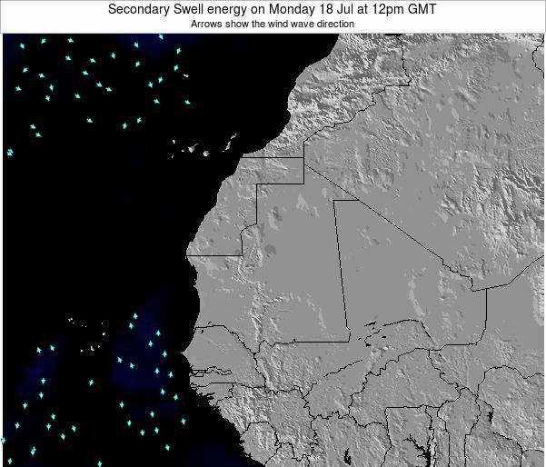 Mauritania Secondary Swell energy on Monday 28 Apr at 12pm GMT