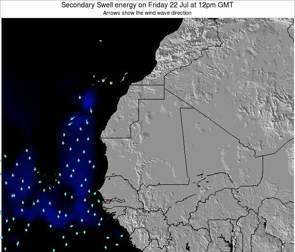 Mauritania Secondary Swell energy on Monday 25 Aug at 6pm GMT