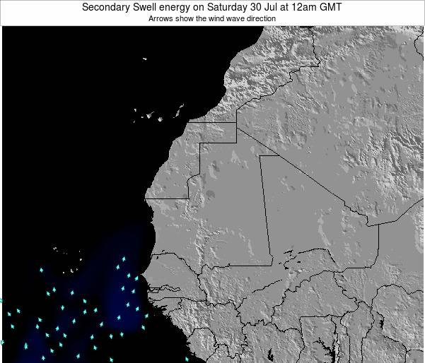 Mauritania Secondary Swell energy on Wednesday 29 May at 12pm GMT
