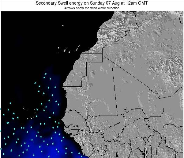 Mauritania Secondary Swell energy on Friday 24 May at 12pm GMT